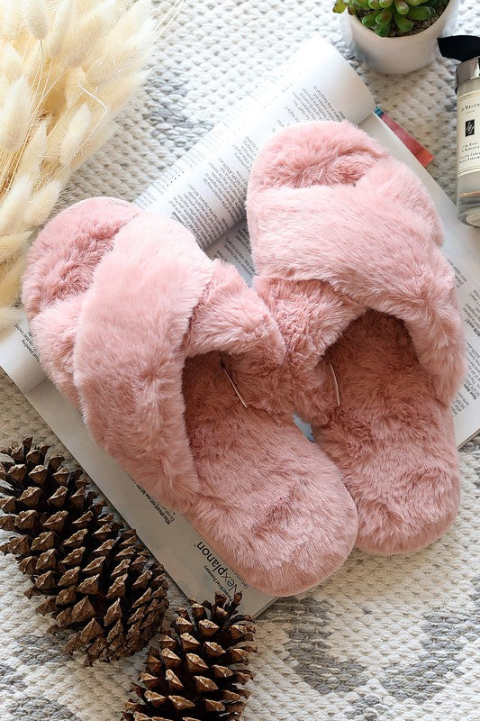 Pretty Pink Faux Fur Slippers