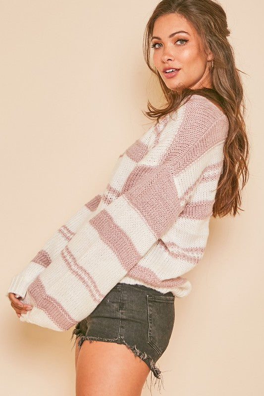 Multi Striped V Neck Sweater
