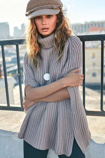 Taupe Gray Sweater Cape
