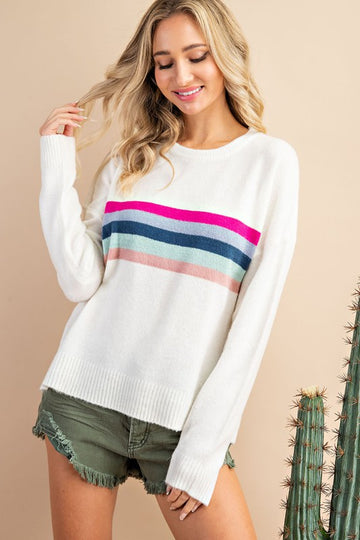 Cute Pullover with Pops of Color! This rainbow stripes pullover is a fun and relaxed fit that pairs perfectly with your jeans for an effortlessly cute everyday look. Acrylic/Nylon Model is 5'8