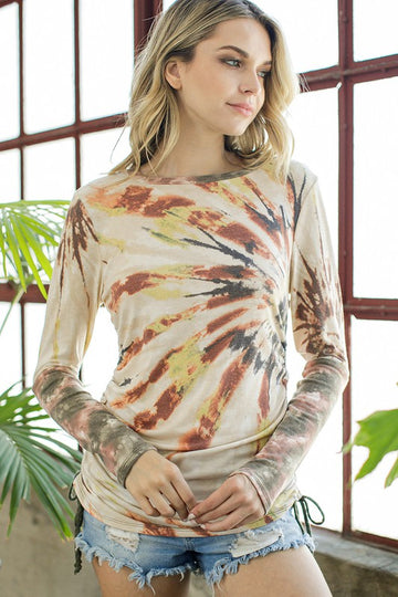 Long Sleeve Rust Tie Dye If you love tie dye then this Ruched Rust Tie Dye Long Sleeve Tee is for you! A soft and classic fit tee that pairs great with all your favorite denim for an effortlessly Fall vibe! Poly/Rayon/Span.   Flattering Side Ruching Sleeve Tie Dye Contrast Side Tie Round Neck Long Sleeve Classic Fit with Stretch This Ruched Rust Tie Dye Tee ships FREE in 1 wk.  being yourself is the key!