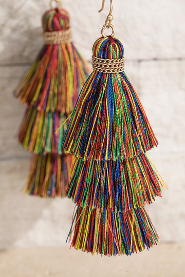 3 Colors! Get all 3 of these lightweight and festive fantastic tiered tassel drop earrings! Pairs perfectly with tee and jeans or sun dress for any occasion!  Approx 2.75 Fine Thread Tiered Gold Tone Details Fish Hook  These Tiered Tassel Earrings ship FREE in 1 week.  being yourself is the key!