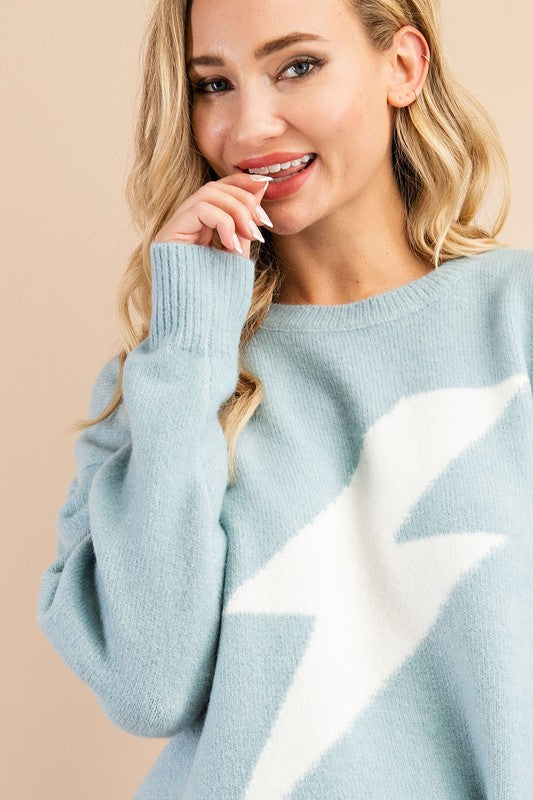 Baby Blue Thunderbolt Sweater