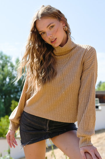 Camel Ribbed Turtleneck Top