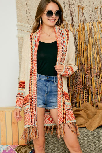 Oatmeal and Fringe Tribal Cardigan