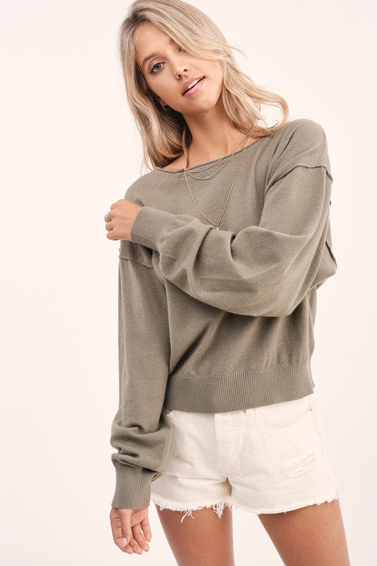 Reverse Stitch Bubble Sleeve Pullover