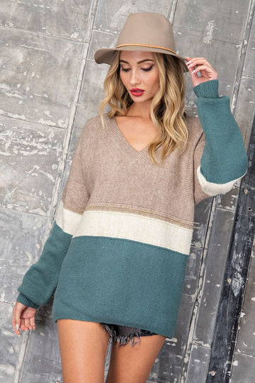 Knit Sage Color Block Sweater