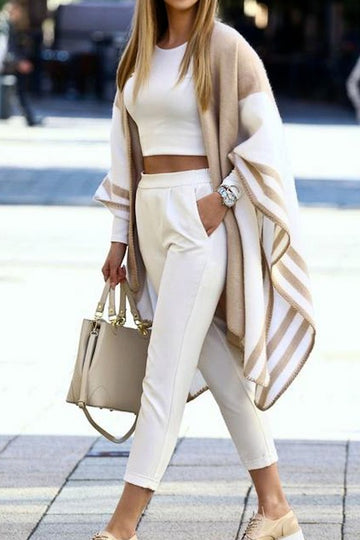 Open Front Taupe Poncho