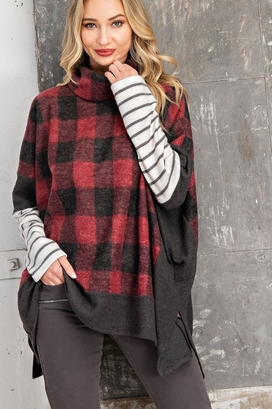 Stripes & Plaid Combo Snuggle up fireside with your favorite cold weather beverage and comfy leggings in this buffalo plaid poncho knit top! Loose fit you will feel extra comfy in. Fleece feels. Model is 5'9