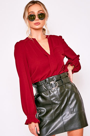Burgundy Solid V Blouse