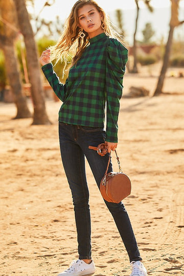 Hunter Green Pleated Sleeve Top