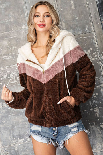 Neutral Color Cozy Hoodie! Look cute and stay warm in this soft neutral toned color block zip up hoodie! Soft feels and relaxed fit. Poly. Model is 5'8