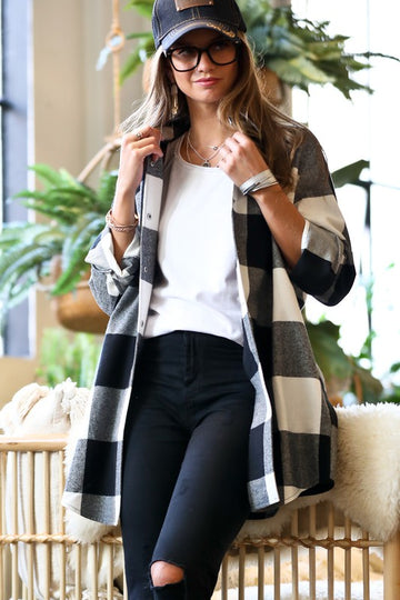 Black & White Plaid Shirt Jacket