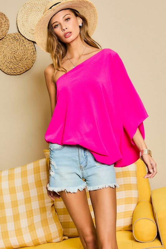 Pre Order Fuchsia One Shoulder Flow Top