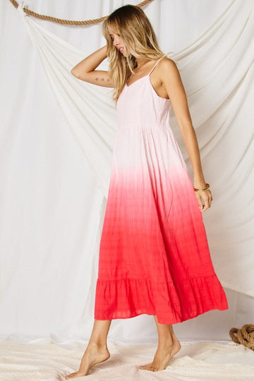 Pink & Red Combo  A gorgeous sun dress for almost any occasion! Fun & flirty with stunning dip dye from pink to red tie dye. Flowy fit. Cotton. Model is 5'9