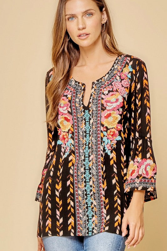 Multi Print Floral Embroidery Top