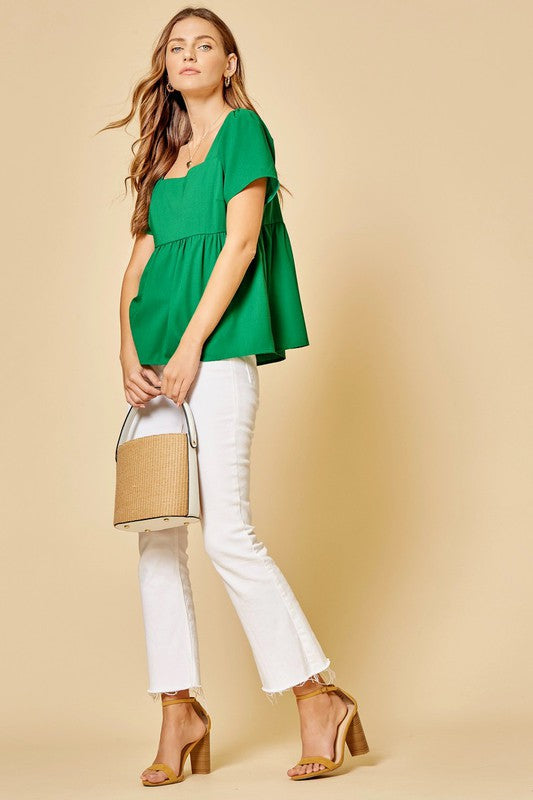 Kelly Green Woven Top