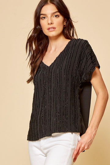 Texture V Neck Black Top