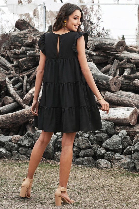 Ruffle Sleeve Cascade Dress