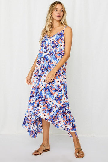 Perfect for Fun in the Sun For casual summer days, patio parties, brunches and more! This blue floral dress with asymmetrical hem dress is an effortlessly fresh and fun style you will love! Poly. Model is 5'9