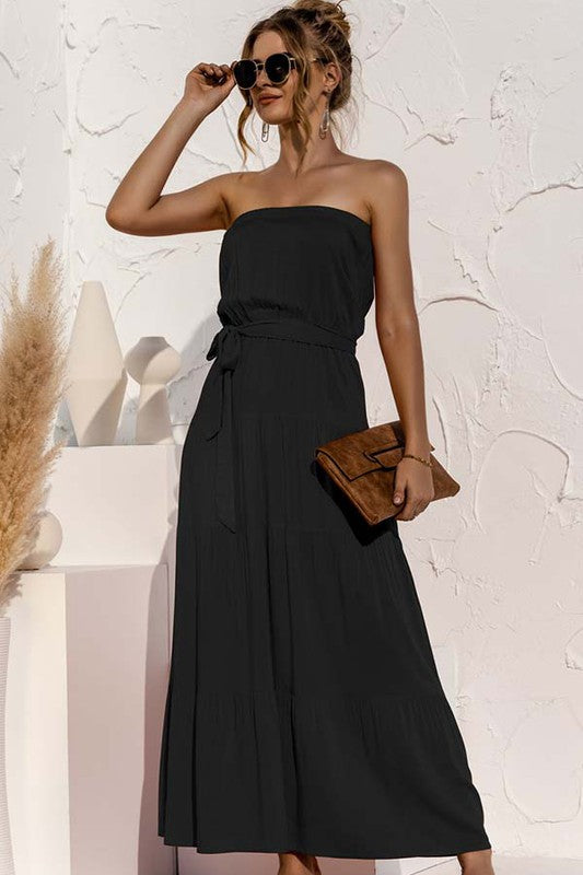 Classic Strapless  A chic and sophisticated black tiered maxi dress with self tie sash and everyday wearable style. Poly. Classic Maxi Fit. Model is approx 5'9