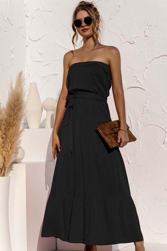 Black Strapless Tiered Maxi