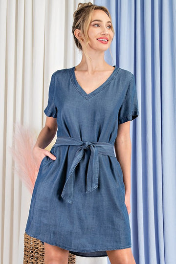 Light and Soft Denim Style! A dress for anytime! Spring and summer casual style is easy in this lightweight and soft to touch denim dress. Poly/Rayon. Model is 5'8