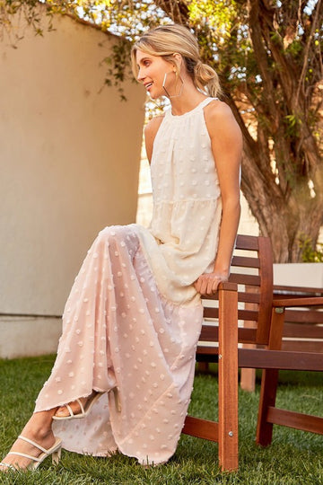Halter Pom Maxi Dress