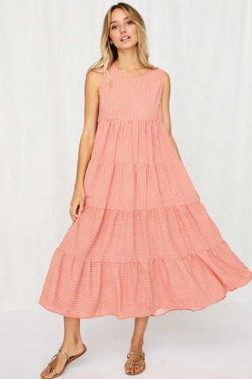 Coral Pinstripe Tiered Dress
