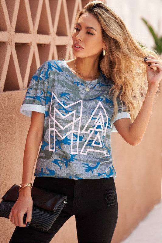 Letter Print Mom Graphic Tee