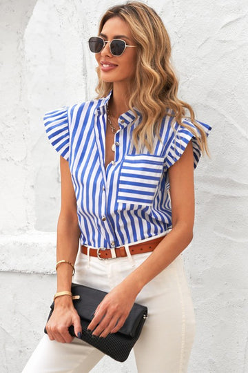 For Work & Play! Stripes and Ruffles make this button down top a little more fun for your everyday work to weekend style! Classic Fit. Poly/Span. Model is 5'9