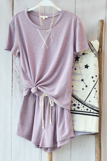 Summer Pajamas! Feel cute and comfy in these soft striped pajama sets. Cuddle up with your coffee and enjoy the stretch material, drawstring waist and relaxed fit. Cotton/Poly/Linen. Model is 5'9