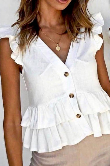 Ruffle Detail Button Top