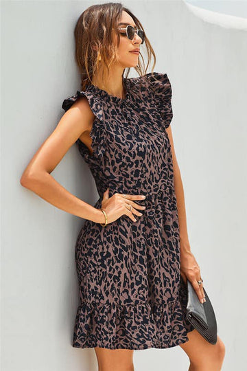 Leopard Ruffle Sleeve Dress