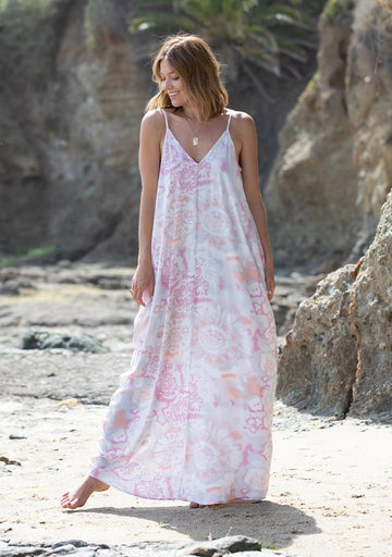 Coral Tie Dye Cocoon Maxi Dress