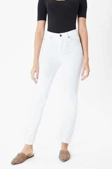 Crisp White Skinny Jeans These crisp white skinny jeans are a classic and clean addition to your spring and summer styles. We love how they lift and shape every curve. Cotton/Poly/Span. Model is in size 25.   10.5