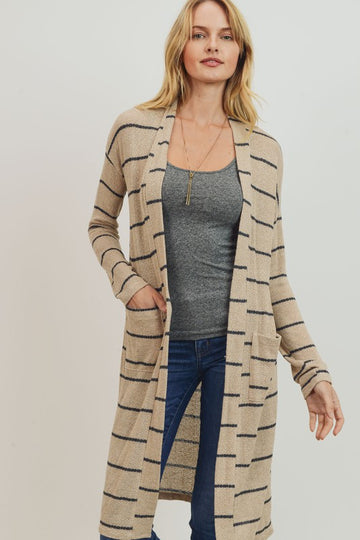Taupe Striped Pocket Cardigan