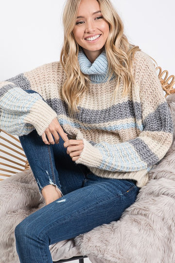 Soft Blue Multi Stripe Knit Sweater