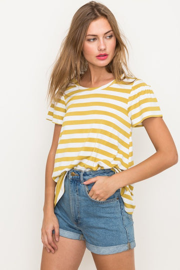 This super soft striped relaxed fit tee has an intricate little ruffle sleeve detail and a round neck. Pairs perfectly with your favorite jeans and shorts for an everyday wearable style.  Rayon. Model is 5'9