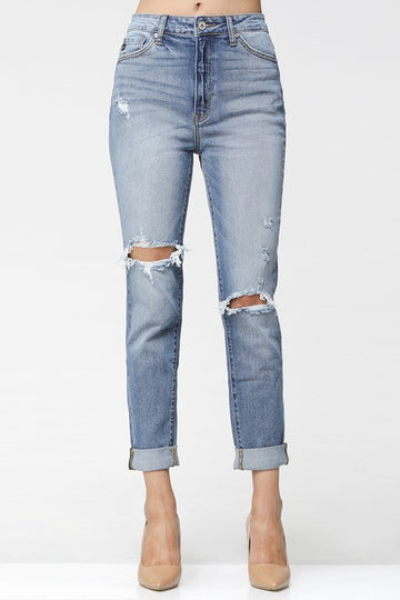 High Waist Cuff Denim