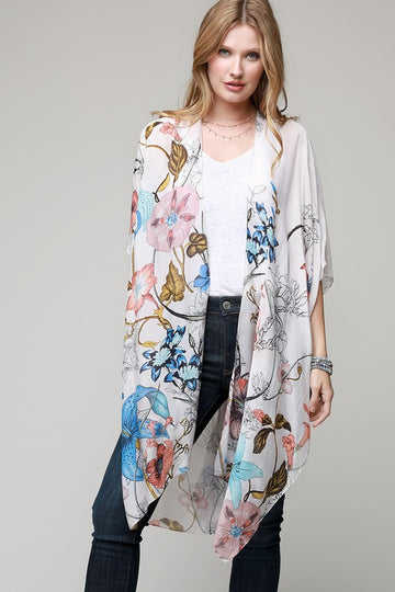 Lovely Lilly Floral Kimono This lightweight floral and hellebore printed kimono cardigan looks beautiful with your tee and shorts, tank and jeans and even your swimsuit. Super soft and one size fits most. Modal/Viscose.   One size fits most Floral Print 36