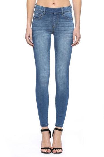 Medium Wash Mid Rise Crop Jeggings