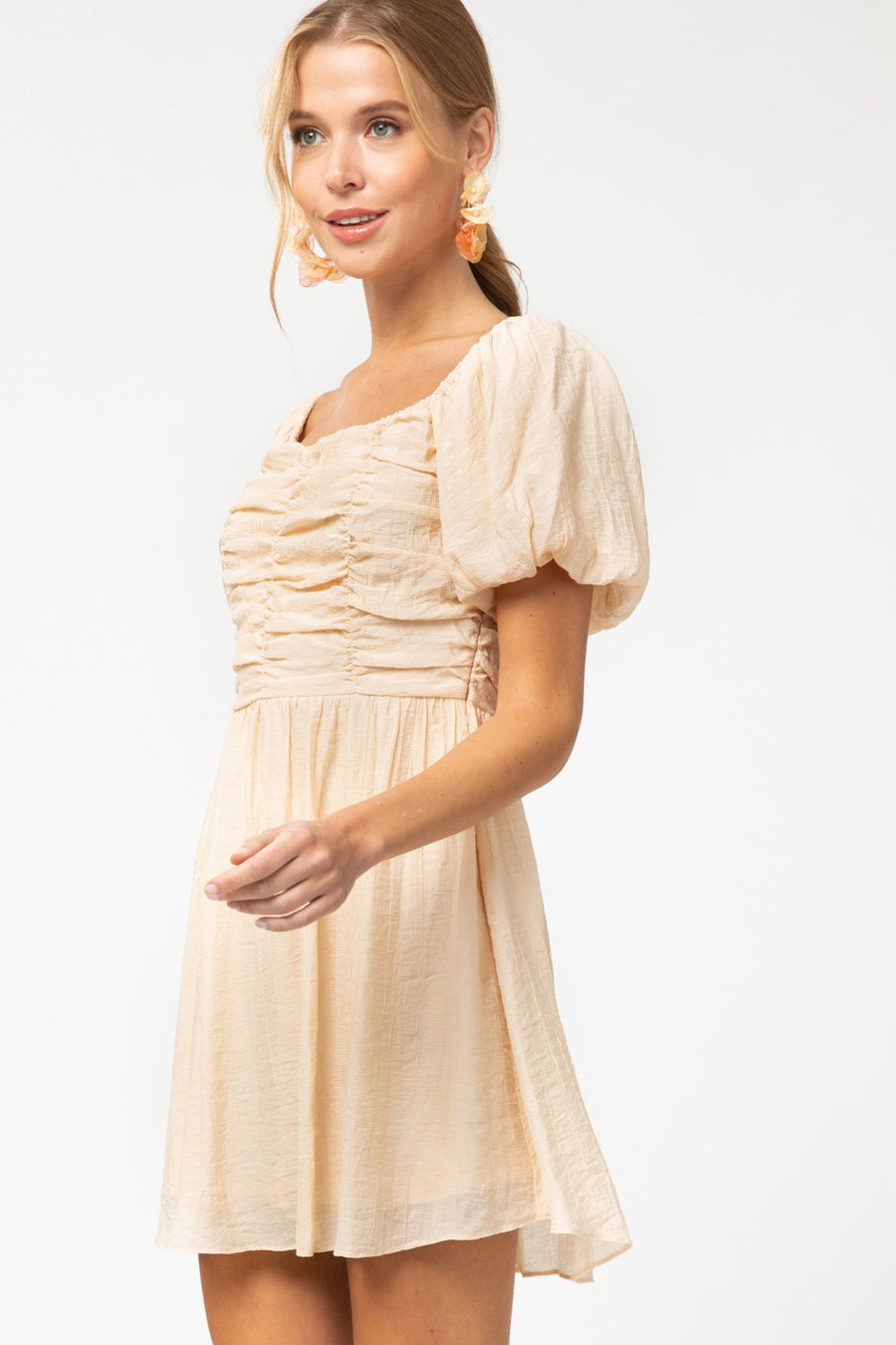 Taupe Ruched Puff Sleeve Dress
