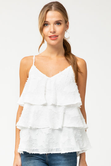 Flounce & Flair White Top