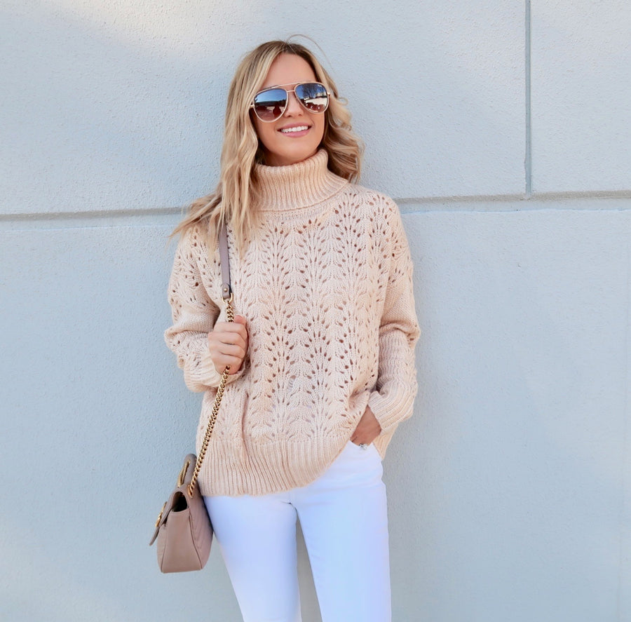 Taupe Perforated Sweater