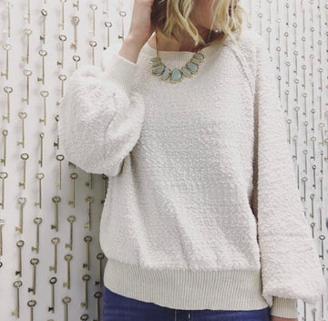 Ivory Popcorn Puff Sleeve Pullover