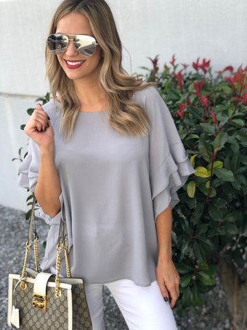Cool Grey Ruffle Sleeve Top
