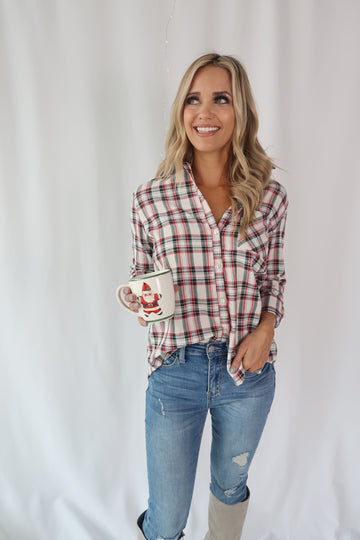 Vintage Plaid Ivory Button Up