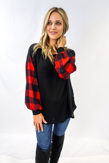 Buffalo Check Sleeve Black Top
