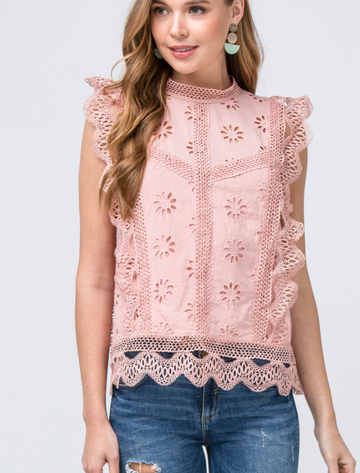 Romantic and classic combined in this beautiful mock neck eyelet lace top with ruffle trim arms. Semi lined. Keyhole button neck detail. Relaxed fit. Cotton/ Model is 5'9.5
